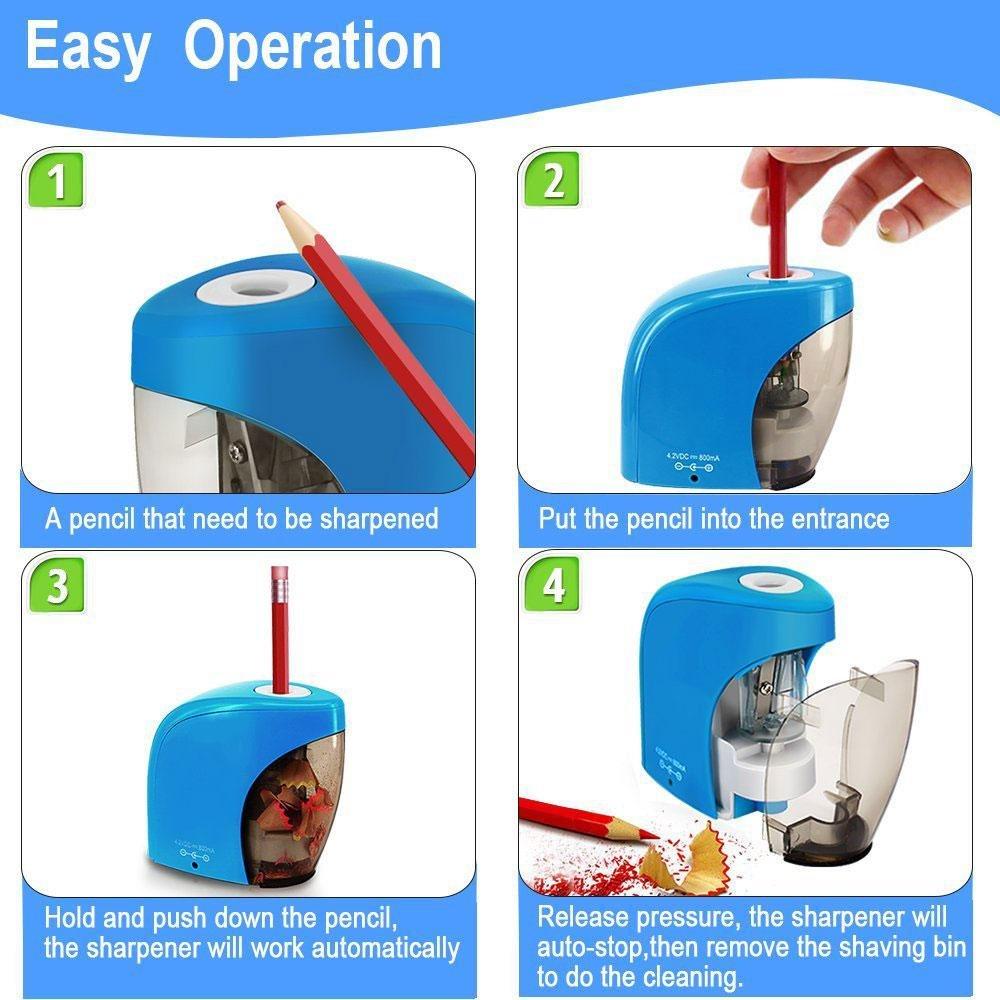 Duradero el Aula o la Oficina Funciona con Pilas y Funci/ón autom/ática para la Escuela de Ni/ños Port/átil Teepao Afilador de L/ápices USB