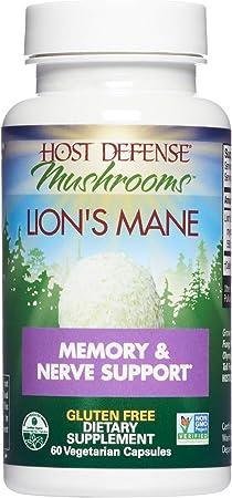 Host Defense, Lion's Mane Capsules, Promotes Mental Clarity, Focus and Memory, Daily Mushroom Supplement, Vegan, Organic, 60 Capsules (30 Servings)