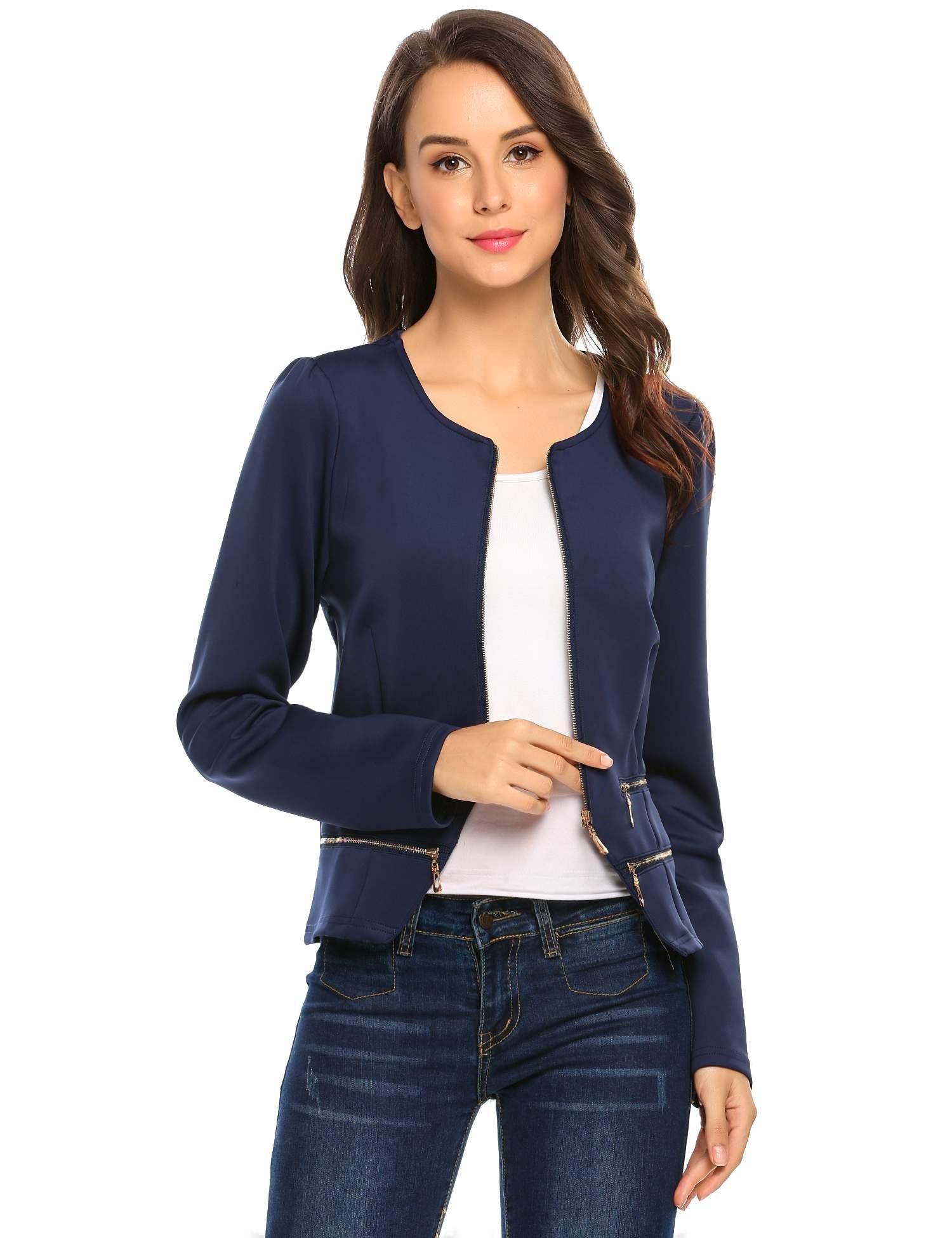 Zeagoo Women's Casual Zipper Cardigan Blazer O Neck Slim Fitted Office Jacket (L, Navy Blue) by Zeagoo (Image #3)