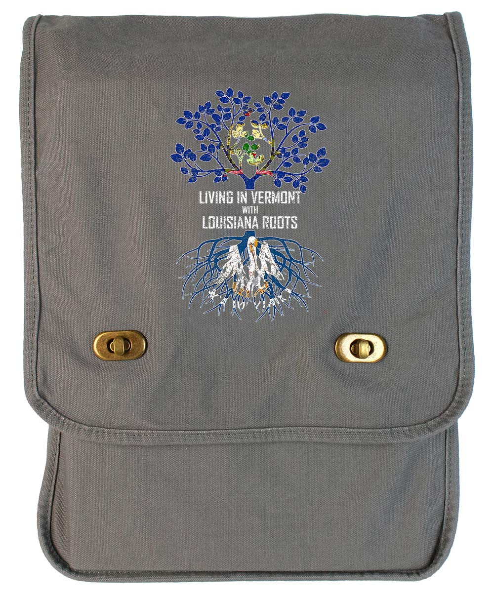 Tenacitee Living In Vermont with Louisiana Roots Grey Brushed Canvas Messenger Bag