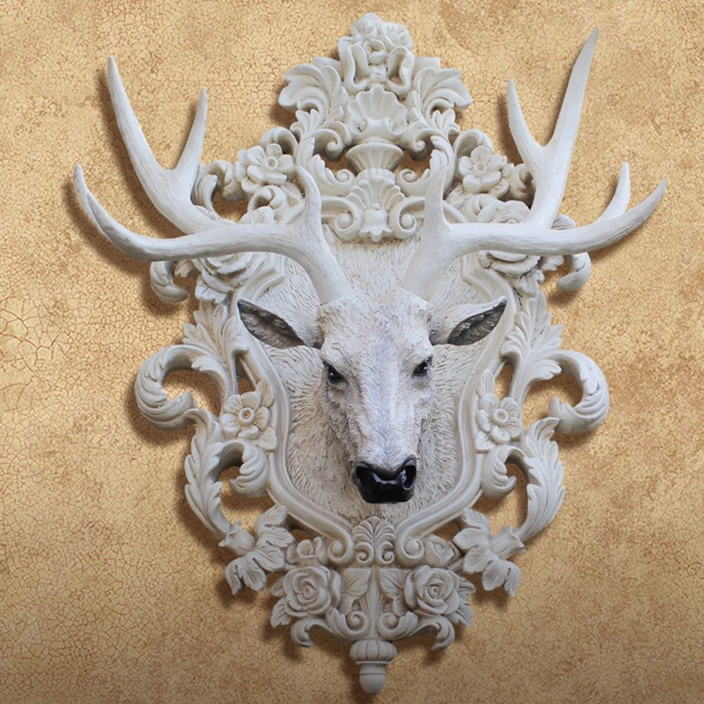 Amerikanischen Stil Retro Resin Deer Kopf Wanddekoration Wohnzimmer Eingang Wand Ornamente Kreative Wand dreidimensionale Wanddekoration (Style Optional) ( farbe : #3 )