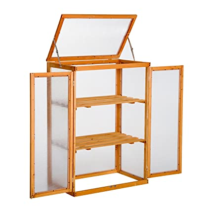 Outsunny Wooden 2 Shelf Cold Frame Greenhouse Polycarbonate Plant ...