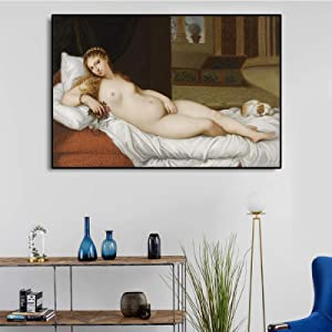 Venus of Urbino by Titian Vecellio Painting Canvas Painting Classic Wall Art Poster Print Wall Picture Home Retro Decor (No Frame) 24x36 inch