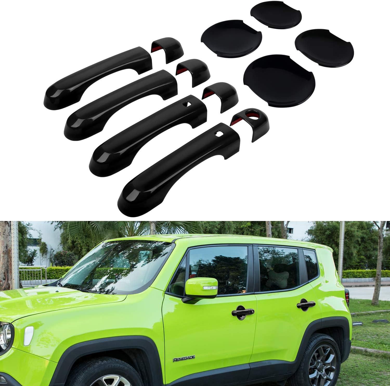 For 07-2018 Jeep Wrangler JK Red Car Door Handle Trim Doorknob Bowl Decor Cover
