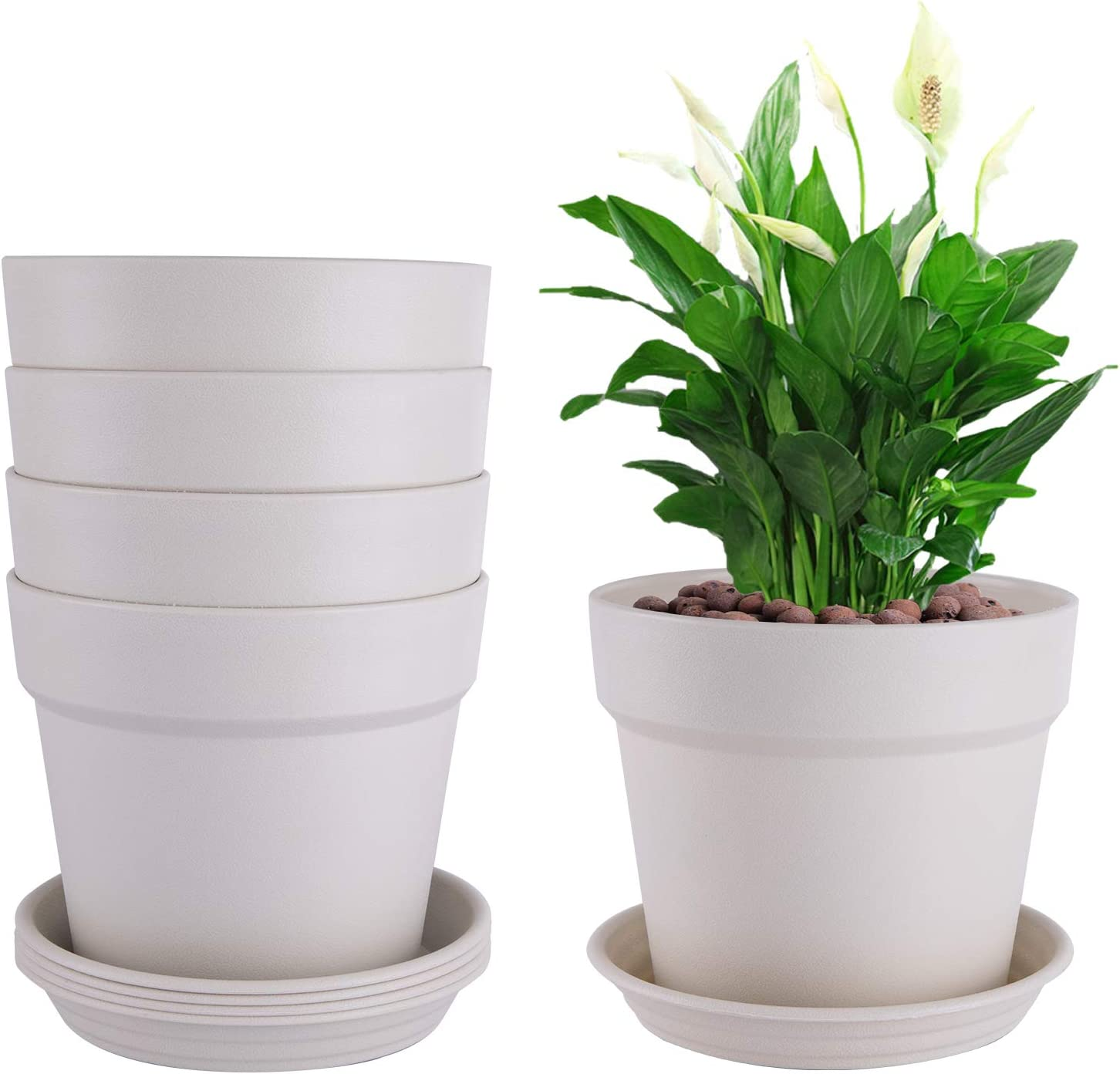 EPFamily Set of 5 Plant Pots for Indoor and Outdoor Planters, 6 Inch Plastic Planters with Drainage Hole and Tray in White