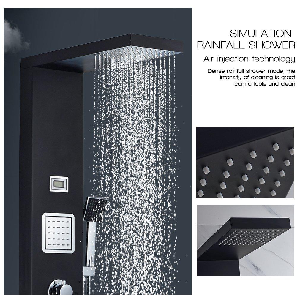 Auralum Columna ducha de hidromasaje de Acero Inoxidable con Termostato para Ba/ñera y Ducha Color Negro