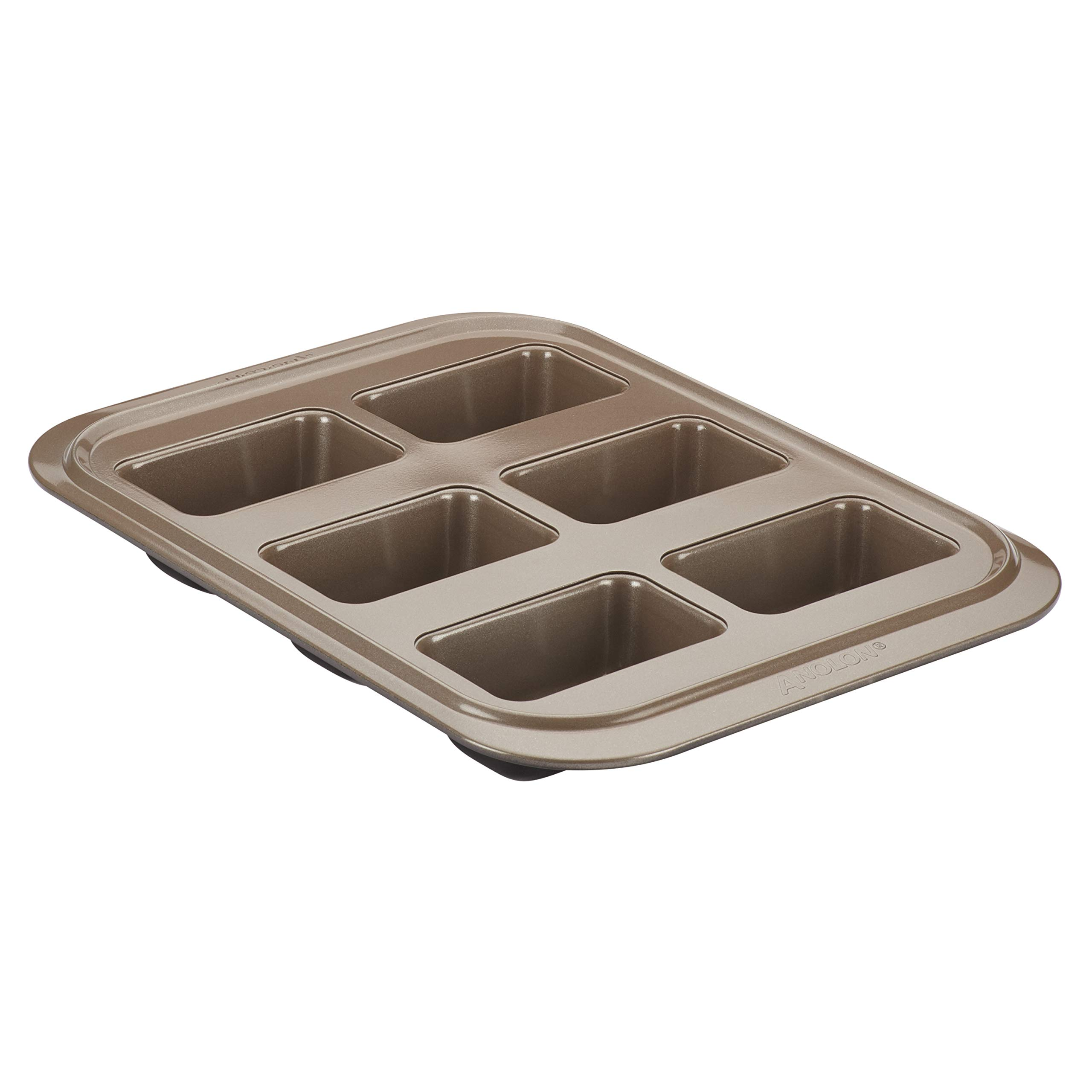 Anolon Eminence Nonstick Bakeware Six Cup Mini Loaf Pan, Onyx with Umber Interior