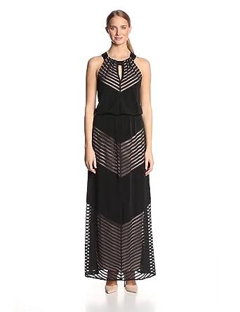 7ead0c4a945 London Times Women s Mesh Maxi Dress with Keyhole at Amazon Women s ...