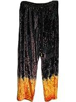 Women's Bohemian Yoga Gypsy Black Velvet Tie-Dye Drawstring Waist Pants