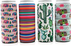 Party Girl Kim Slim Can Cooler - Neoprene Insulated Can Sleeves for 12oz Tall Skinny Cans like Red Bull, White Claw, Truly, Slim Beer, Iced Coffee - Fun for Camping, Outdoor, Beach - 4 pack