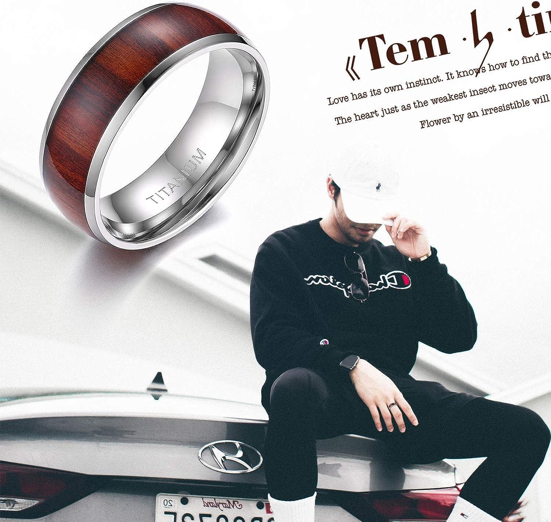 Mabohity Ring Herren Titan-Ring mit Holz Echtholzeinlage Titanium 8mm Breit Ehering Verlobungsring Freundschaftsring Hochzeit Band Gr/ö/ße 52 bis 72 Silber