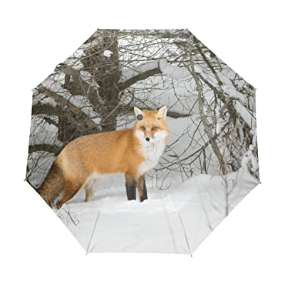 Cooper girl Fox In Winter Forest Windproof Travel Umbrella Auto Open Close Foldable Compact Portable Lightweight UV Umbrellas for Women Men Kid