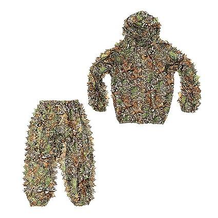 Amazon.com: Kesoto - Traje de camuflaje 3D, ropa de caza con ...
