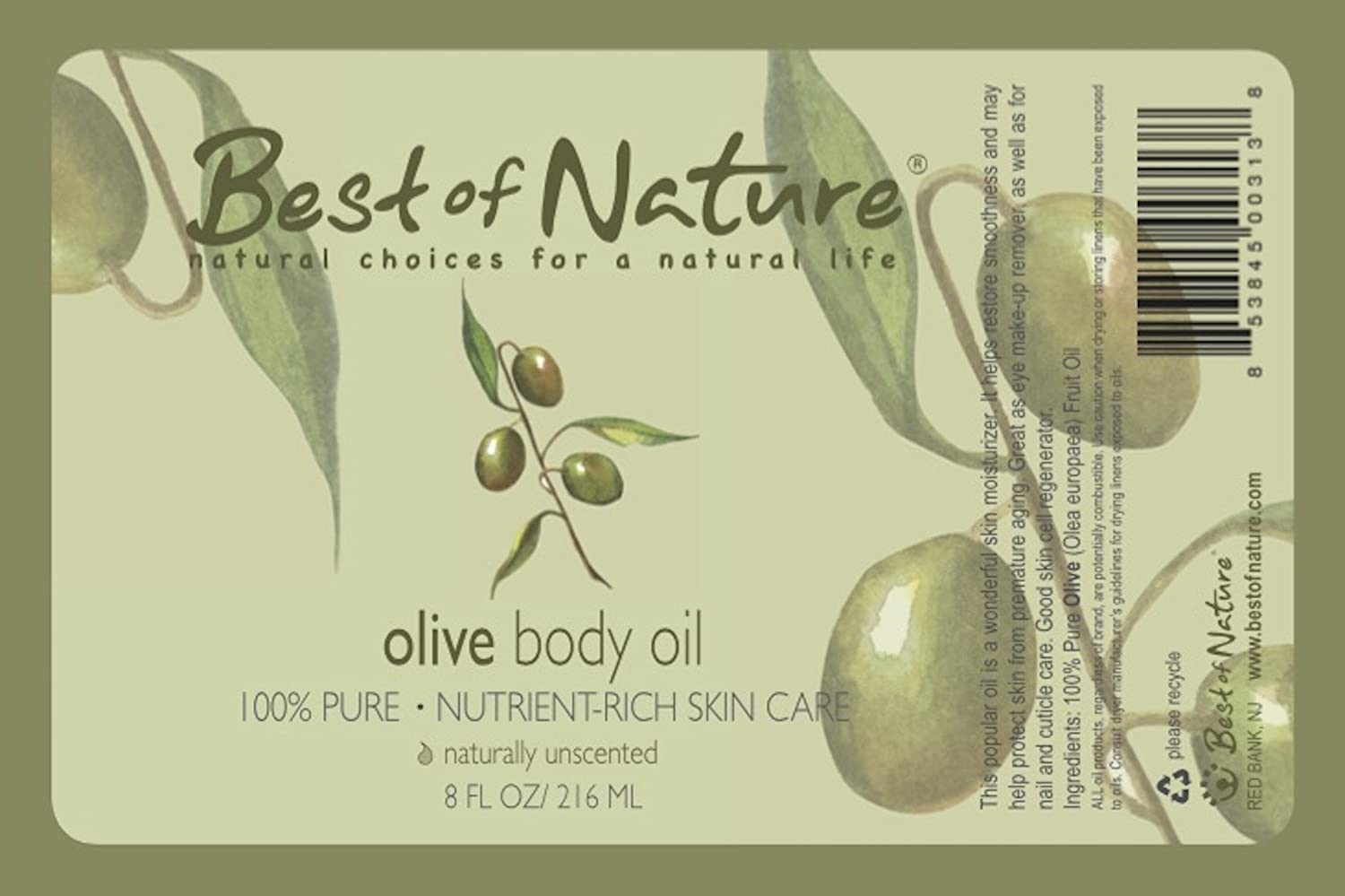 Olive Body Oil - 8oz -100% Pure & Natural - For Body & Hair! : Beauty