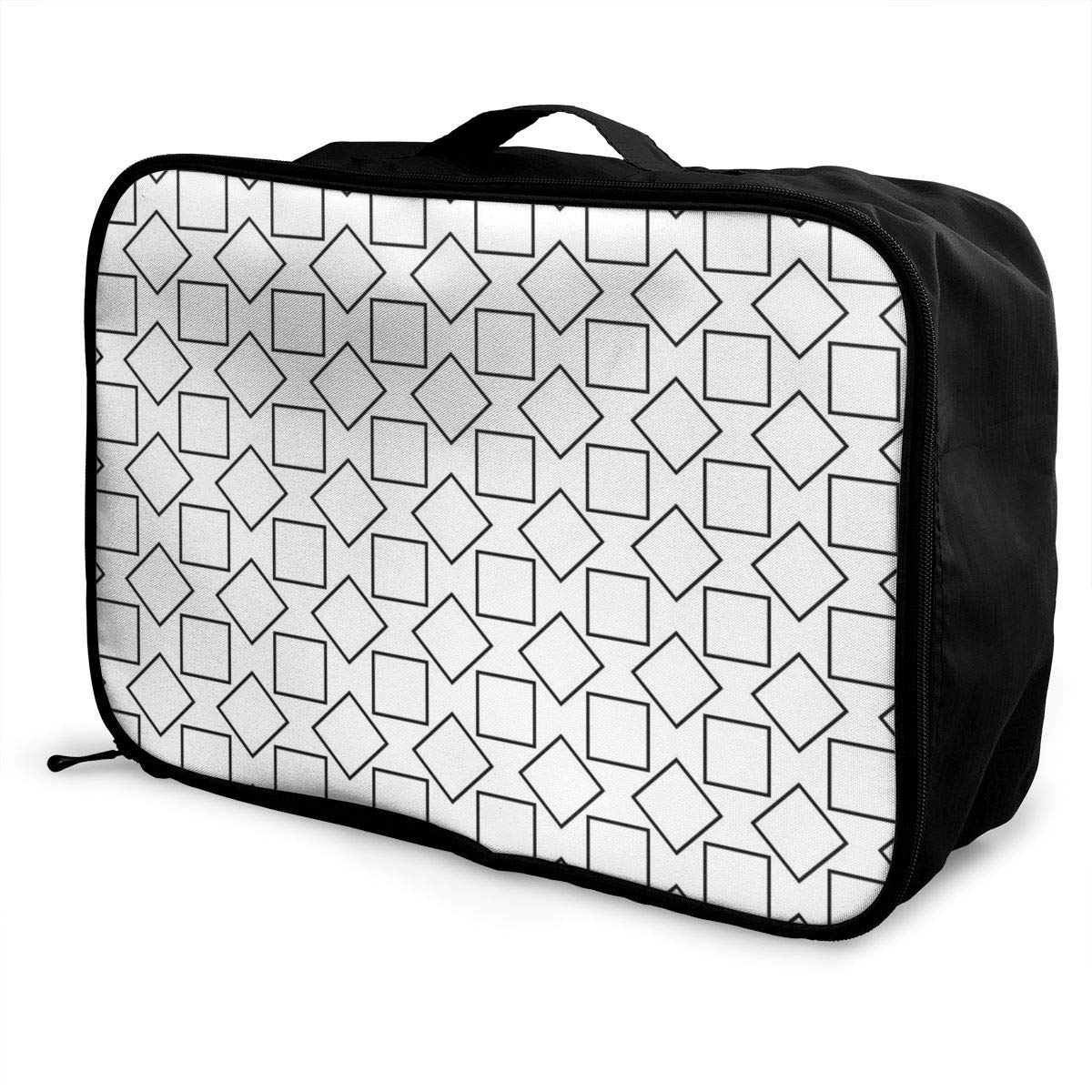 Black And White Art Effect Travel Lightweight Waterproof Foldable Storage Carry Luggage Large Capacity Portable Luggage Bag Duffel Bag