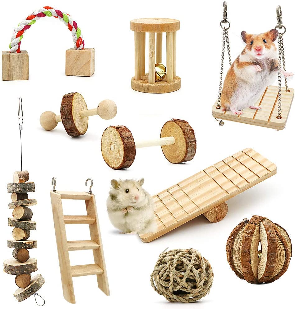 ZALALOVA Hamster Chew Toys, 10Pack MSDS Approved Natural Wooden Pine Guinea Pigs Rats Chinchillas Toys Accessories Dumbells Exercise Bell Roller Teeth Care Molar Toy for Bunny Rabbits Valentines Gifts