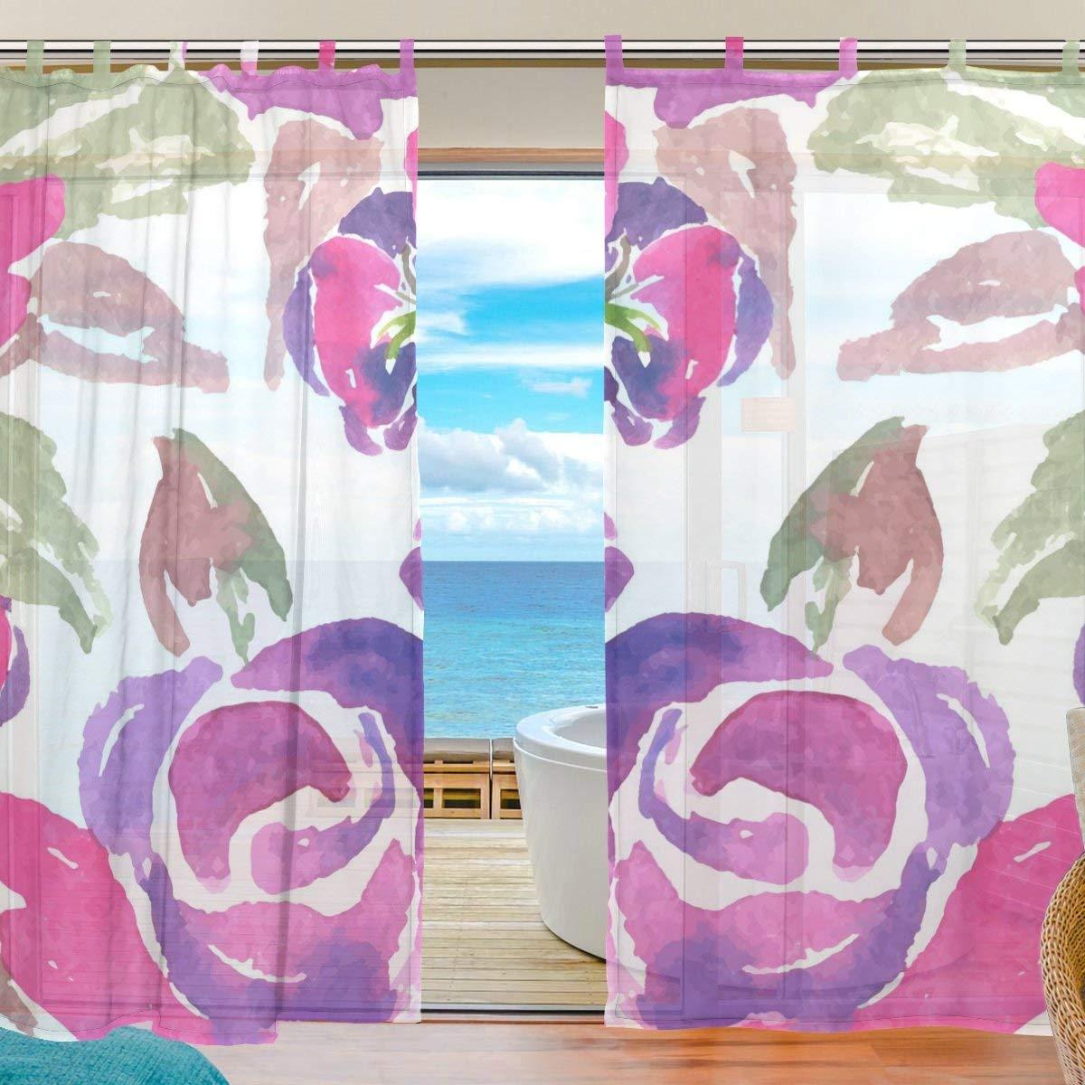 ZOMOY(ユサキ おしゃれ 薄手 柔らかい シェードカーテン紗 ドアカーテン,かわいい 小柄 花柄,装飾 窓 部屋 玄関 ベッドルーム 客間用 遮光 カーテン (幅:140cm x丈:210cmx2枚組)   B07PLG19J4