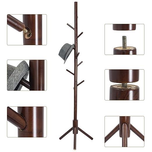Perchero de pie de madera con 9 ganchos, de la marca Top-Max