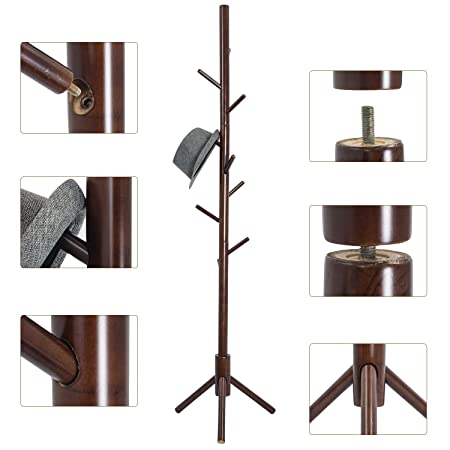 Top Max Wooden Coat Rack Stand Free Standing 9 Hooks Clothes Jacket Umbrella Handbag Hanging
