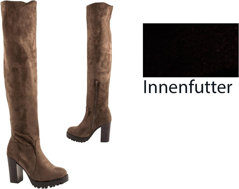 Elara Damen Stiefel Overknee High Heels Absatz Chunkyrayan