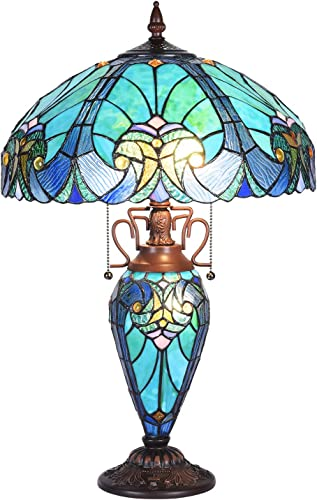 Tiffany Lamp Stained Glass Night Light Base 2E26 1E12 Blue Purple Clouldy Lampshade W16 H22 Inch Antique Style Bookcase Beside Desk Reading Lighting for Living Room Bedroom S558 WERFACTORY