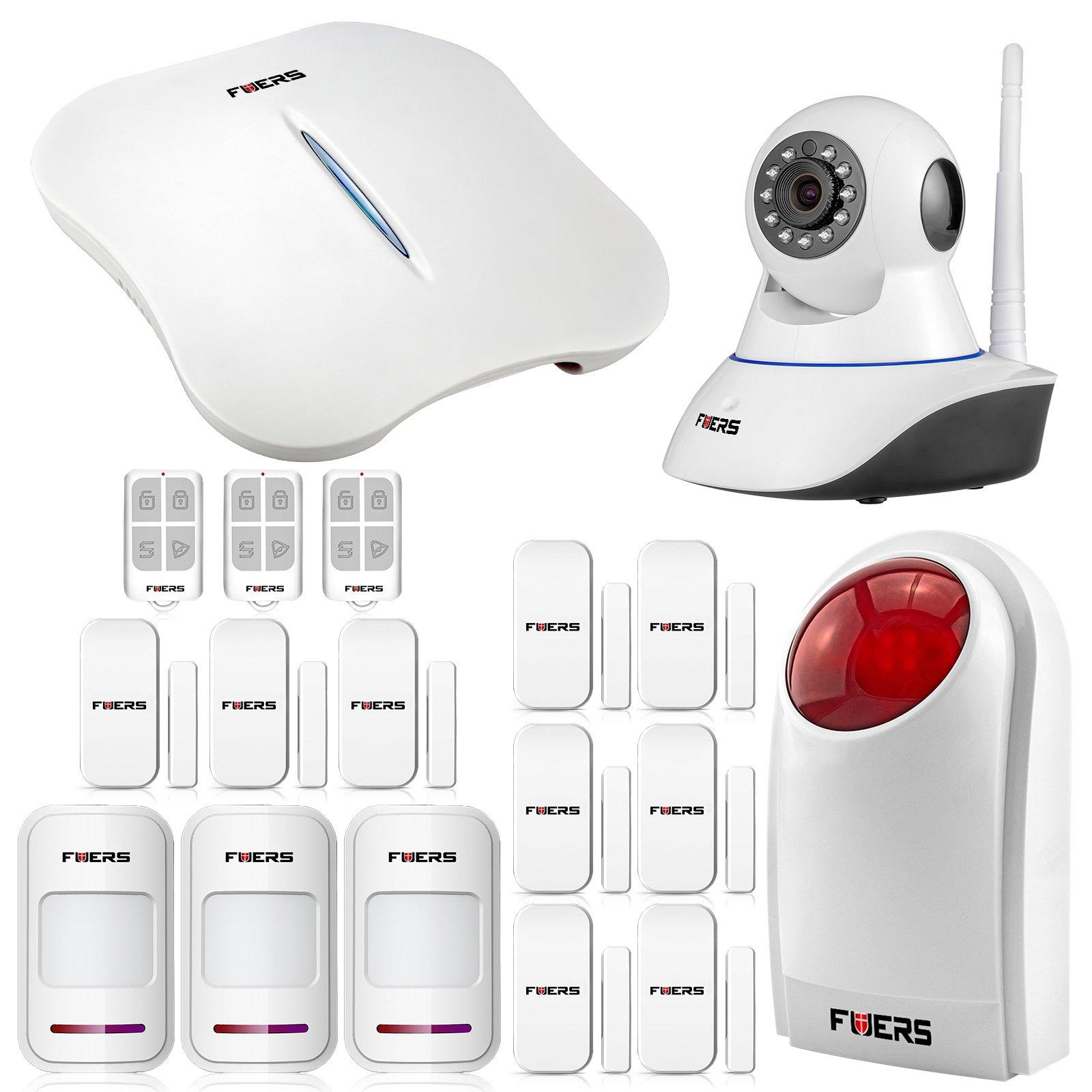 Fuers FW1 Wireless WIFI + Telephone Line Home/House Burglar Alarm System Android/IOS APP Control DIY Kit Super Strong Signal Garden Alarm + 1 PCS IP Camera White