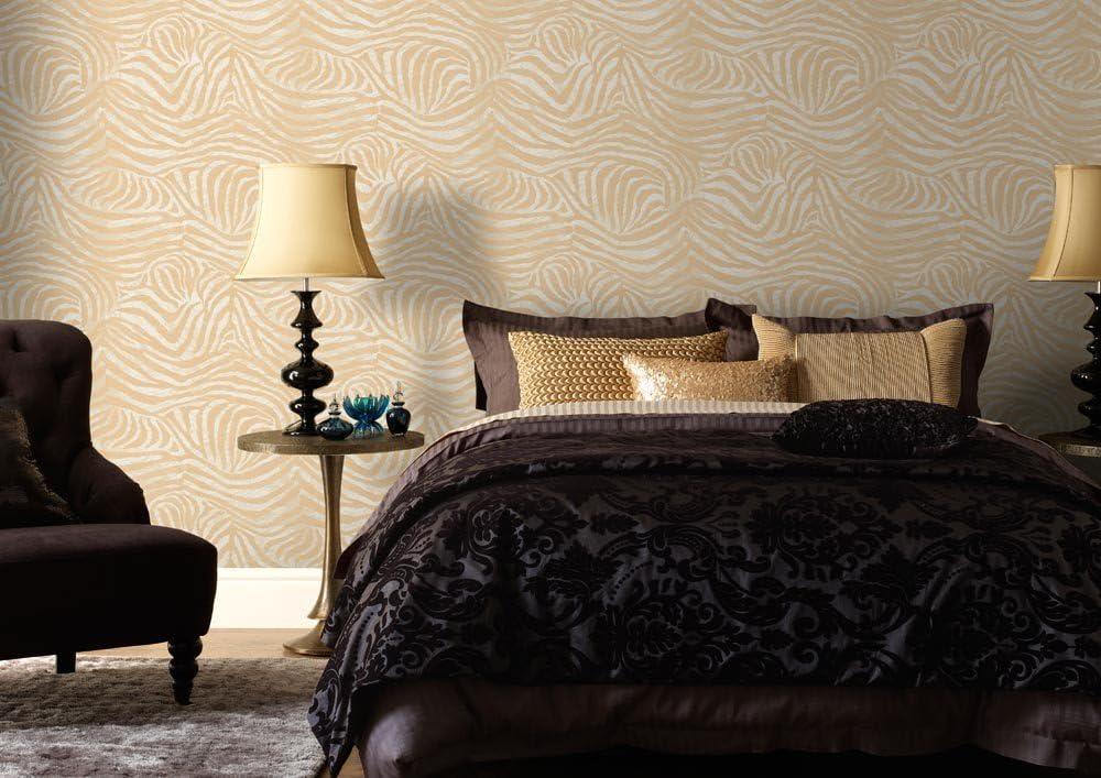 Boutique Zebra White//Gold Wallpaper Animal Print
