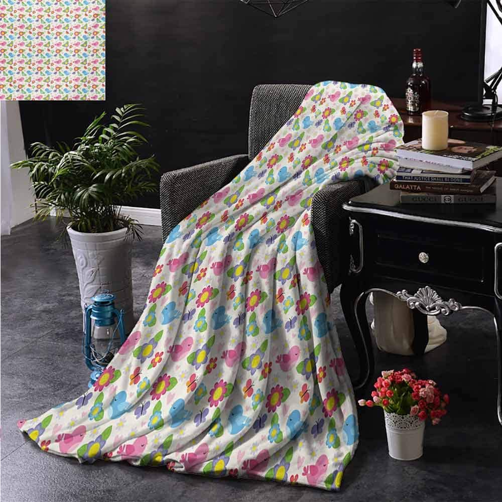 Warm Blanket Kids Blue and Pink Birds Butterflies Hearts and Flowers Lovely Nature Theme Cheery Pattern Soft to The Touch W70 x L84 Inch Multicolor