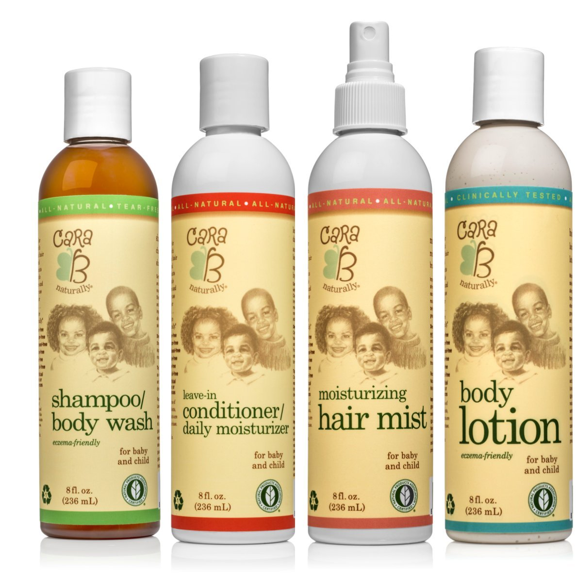 CARA B Naturally Head to Toe Bundle - Shampoo/Body Wash, Leave-In Conditioner/Daily Moisturizer, Moisturizing Hair Mist and Body Lotion – 8 ounces each