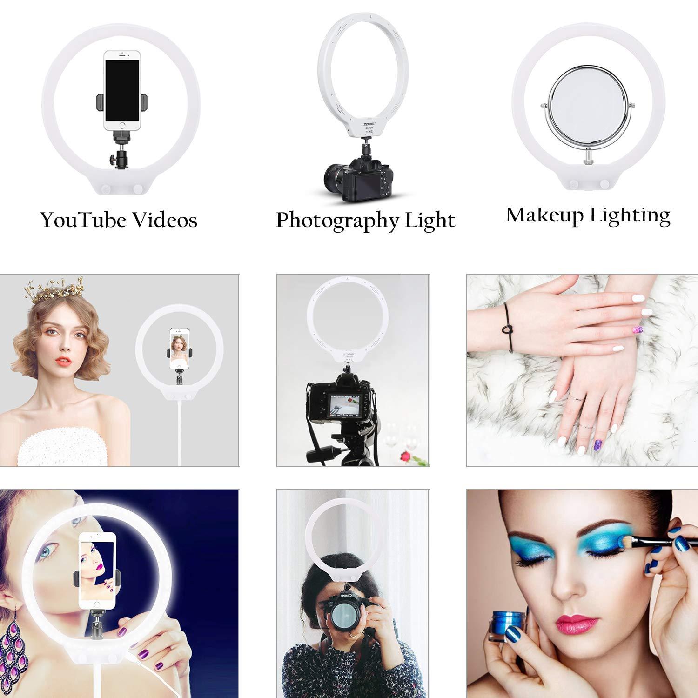 ZOMEi 10 Pouces Selfie Lumiere LED Anneau Lumiere Professionnels 7.5W Desktop Lumiere pour Telephone Cam/éra Photo Vid/éo Self-Portrait Youtube et Maquillage