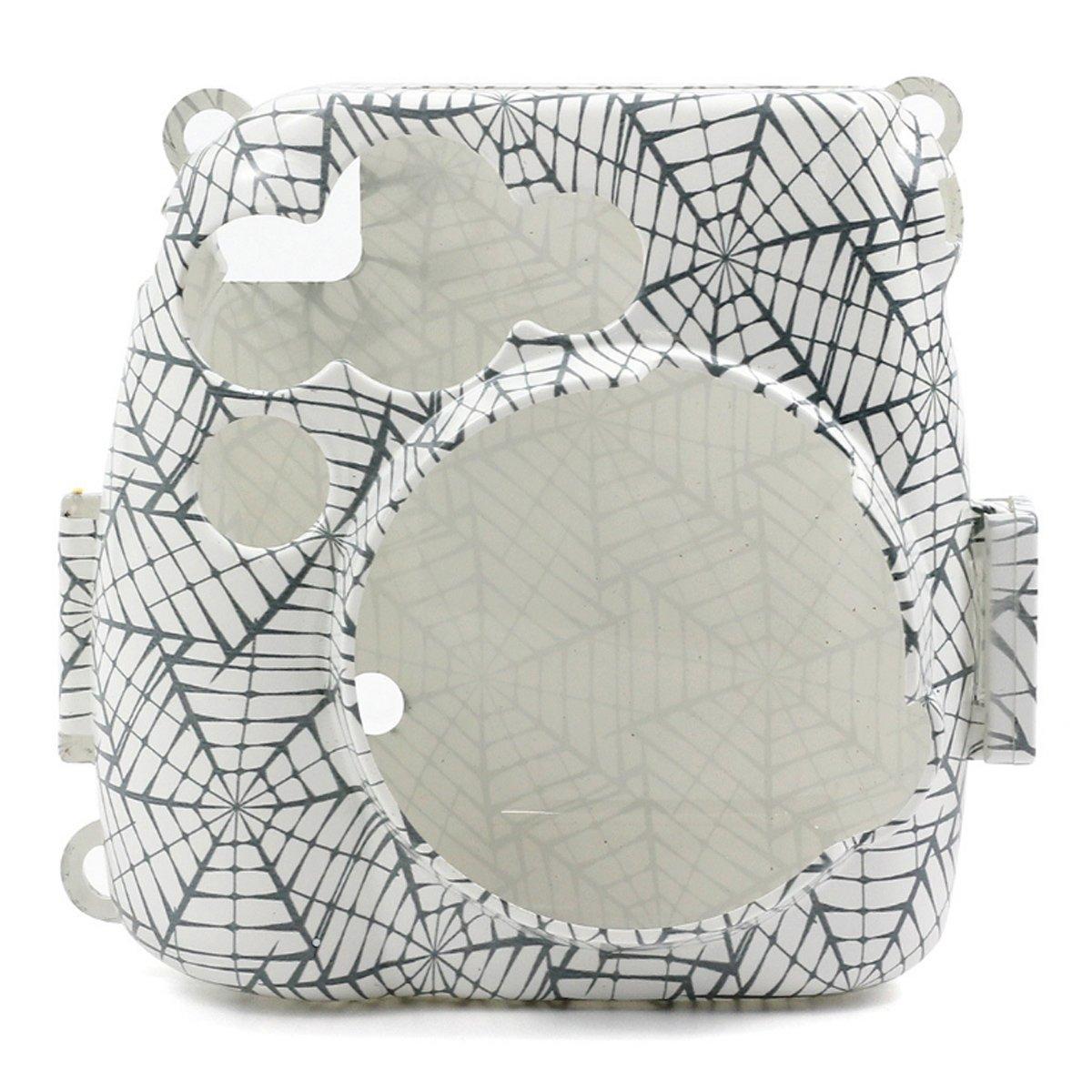 Uniuni Spider's web Cobweb Printed Plastic Protect Case for Fujifilm Instax Mini 8/8+/9 Instant Camera With Removable Shoulder Strap