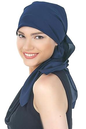 Conception innovante f3d93 72959 Deresina Écharpe luxueuse en crêpe satin pour Perte de Cheveux, Cancer,  Chimio