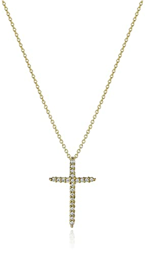 Roberto Coin Tiny Treasures 18k Diamond Sliver Cross Pendant Necklace 1 10cttw, G-H Color, SI1 Clarity