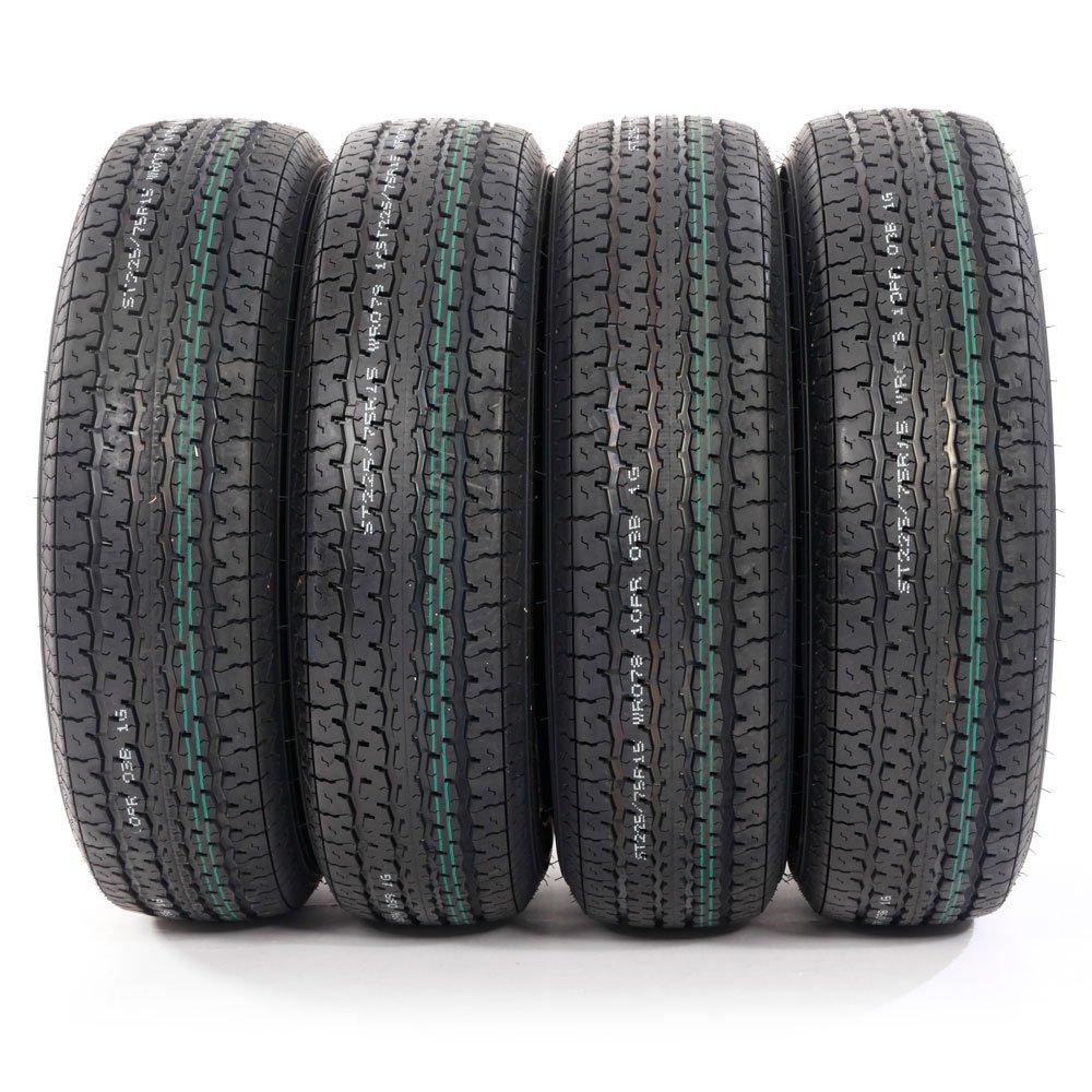 ST225/75R15 Load Range E Radial Trailer Tires 10 Ply 2257515 (Pack of 4)