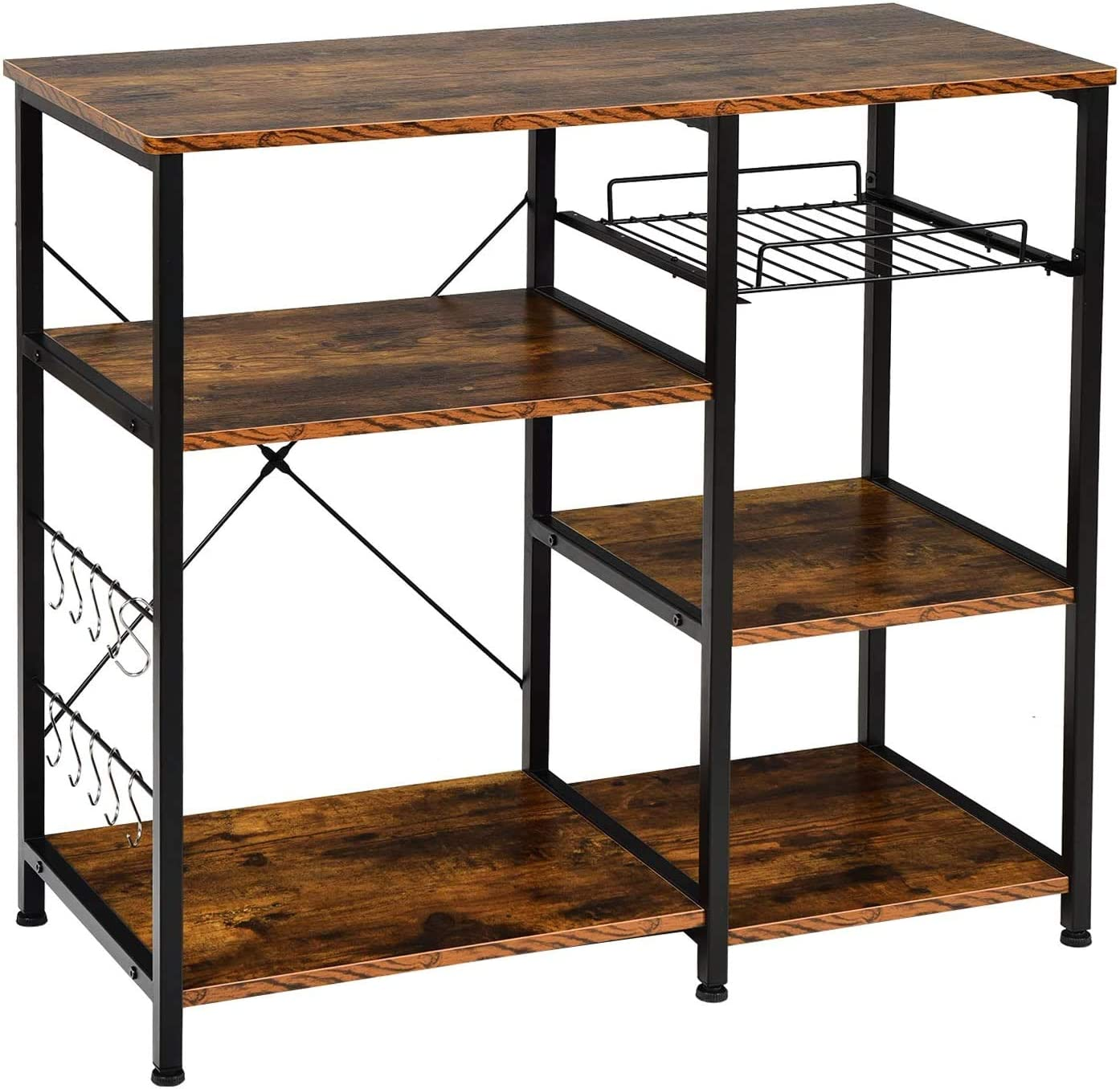 Vintage Kitchen Baker's Rack 35.5 Inches Microwave Oven Stand Workstation Shelf with 10 Hooks, 3+3 Tier Utility Storage for Spice Rack