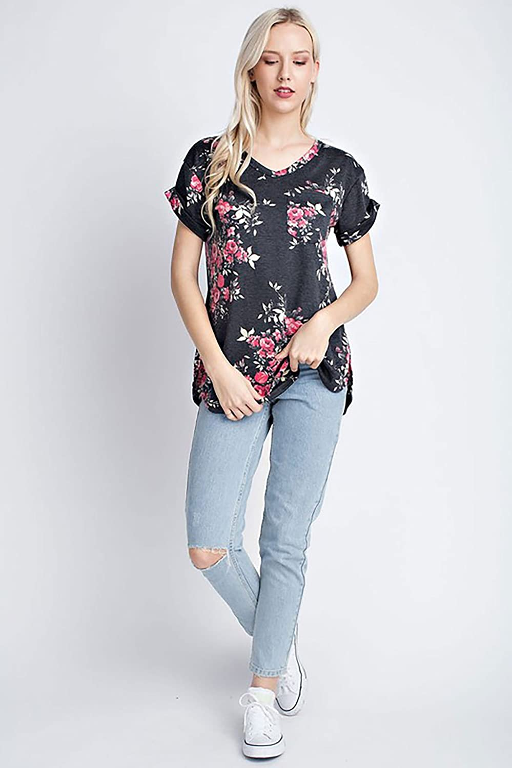 SHOPGLAMLA Fold Up Cuff Details Print Short Sleeves Top Blouse Made in USA