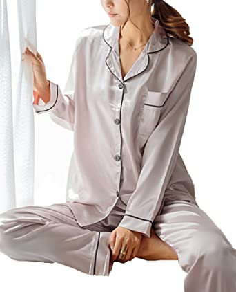 11e30ae2fe SWOMOG Womens Silk Satin Pajamas Long Sleeve Loungewear Two-piece Sleepwear  Button-Down Pj