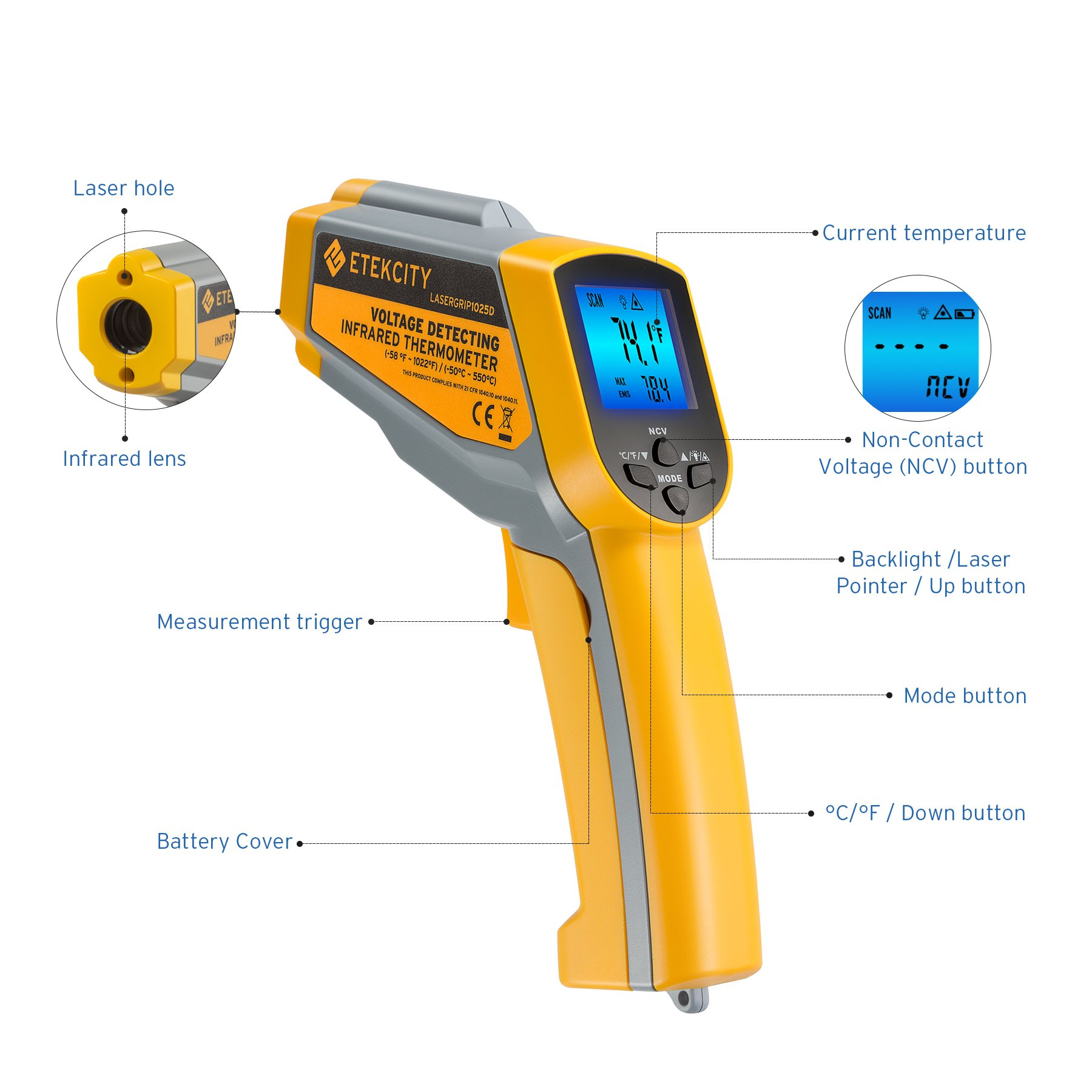 Etekcity Lasergrip 1025D Digital Dual Laser Infrared Thermometer Temperature Gun Non-contact -58℉~1022℉ (-50℃ ~ 550℃) with Voltage Detecting, Adjustable Emissivity by Etekcity (Image #2)