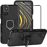 BestMX Funda para Xiaomi Mi Poco M3 Case + Protector de Pantalla de Cristal Templado + Lens Mica, Híbrida Rugged Armor…