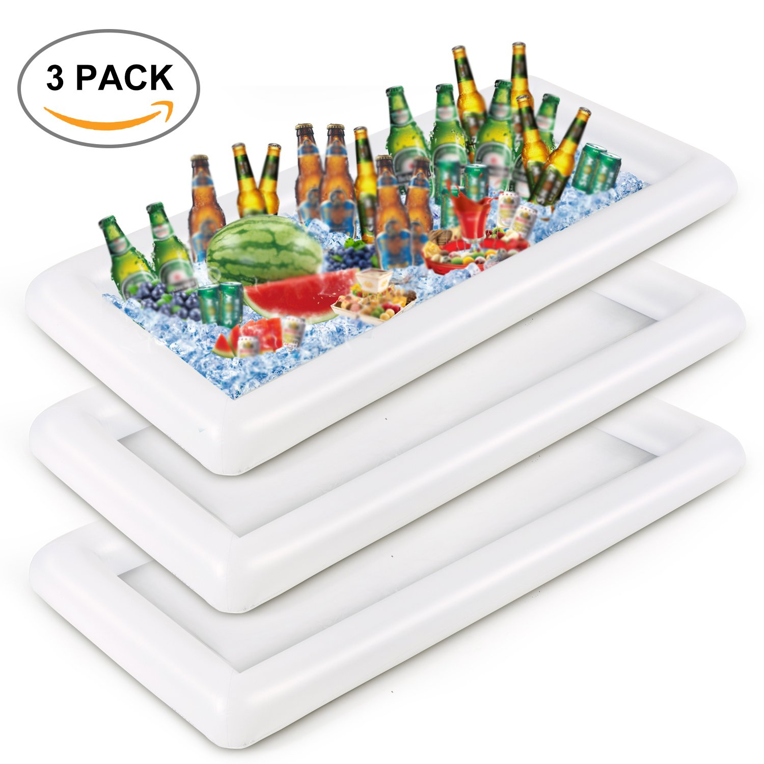 SMAGREHO Inflatable Serving Bar Salad Ice Tray Food Drink Containers with a Drain Plug for BBQ Picnic Pool Party Supplies Buffet Luau Cooler(3 pcs)