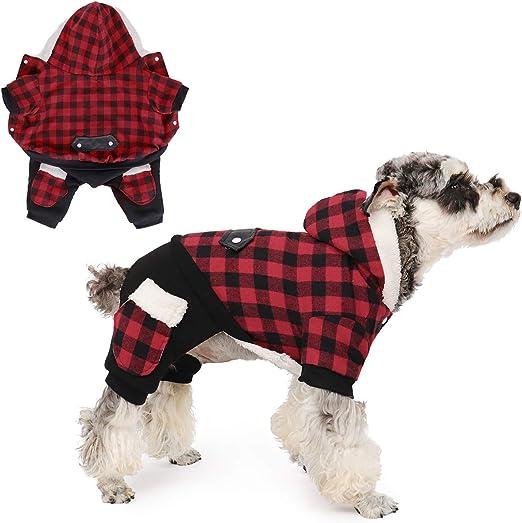 PAWZ Road Camisa para Perros Abrigo a Cuadros Sudadera con Capucha Jersey con 4 Cuatro piernas Ropa de Invierno para Mascotas Chaqueta cálida y Suave para Perros pequeños y medianos Rojo L: