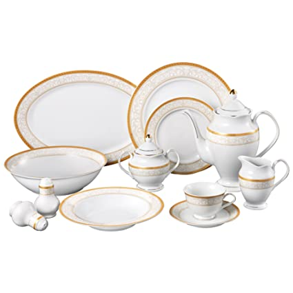 Lorren Home Trends Venice 49-Piece Porcelain Dinnerware Set Service for 8  sc 1 st  Amazon.com & Amazon.com | Lorren Home Trends Venice 49-Piece Porcelain Dinnerware ...