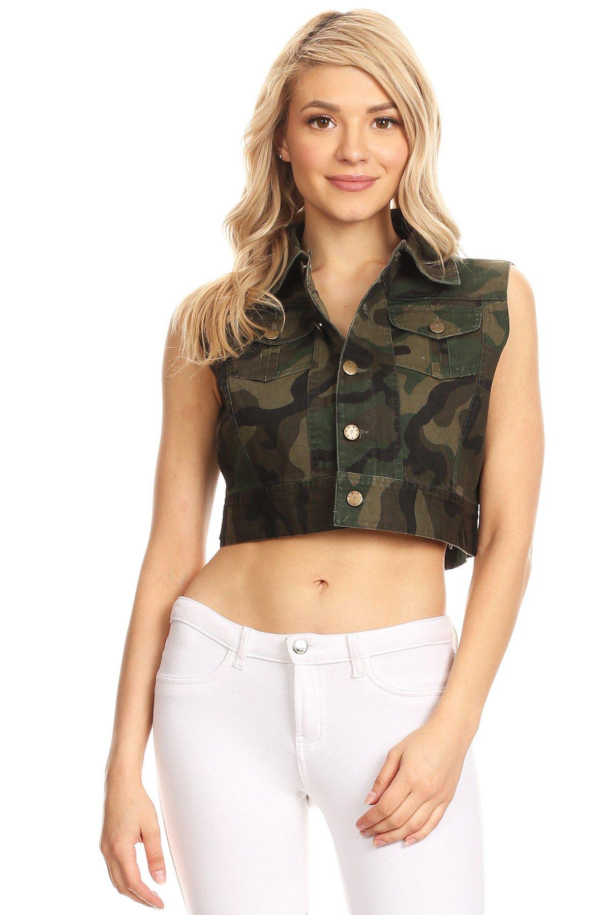 Funteze Cropped Army Print Button Up Vest (Large)