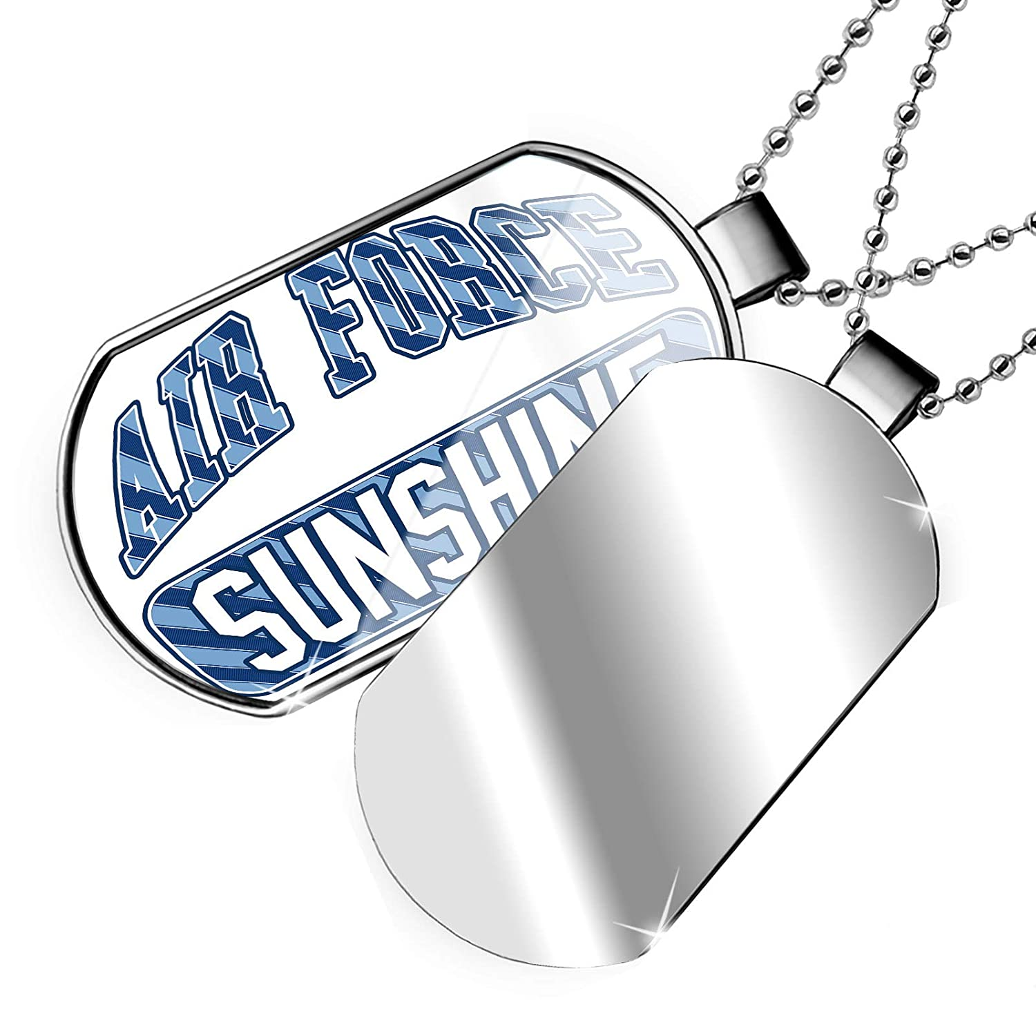 Blue Stripes Dogtag Necklace NEONBLOND Personalized Name Engraved Air Force Sunshine