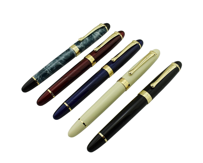 5 PCS jinhaox jinhaox PCS X450 plumas fuente de tamaño mediano de marmol negro, marfil, azul, rojo y azul Color Set 67e45a