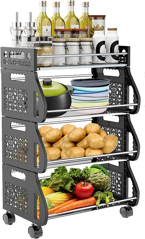 HEROPIE Fruit Storage Basket, 4 Tier Stackable Snack Vegetable Onion Potato Storage Rolling Cart with Wheel, Metal Stand Produce Organizer Rack Bin for Kitchen, Pantry, Closet, Bathroom, Hall