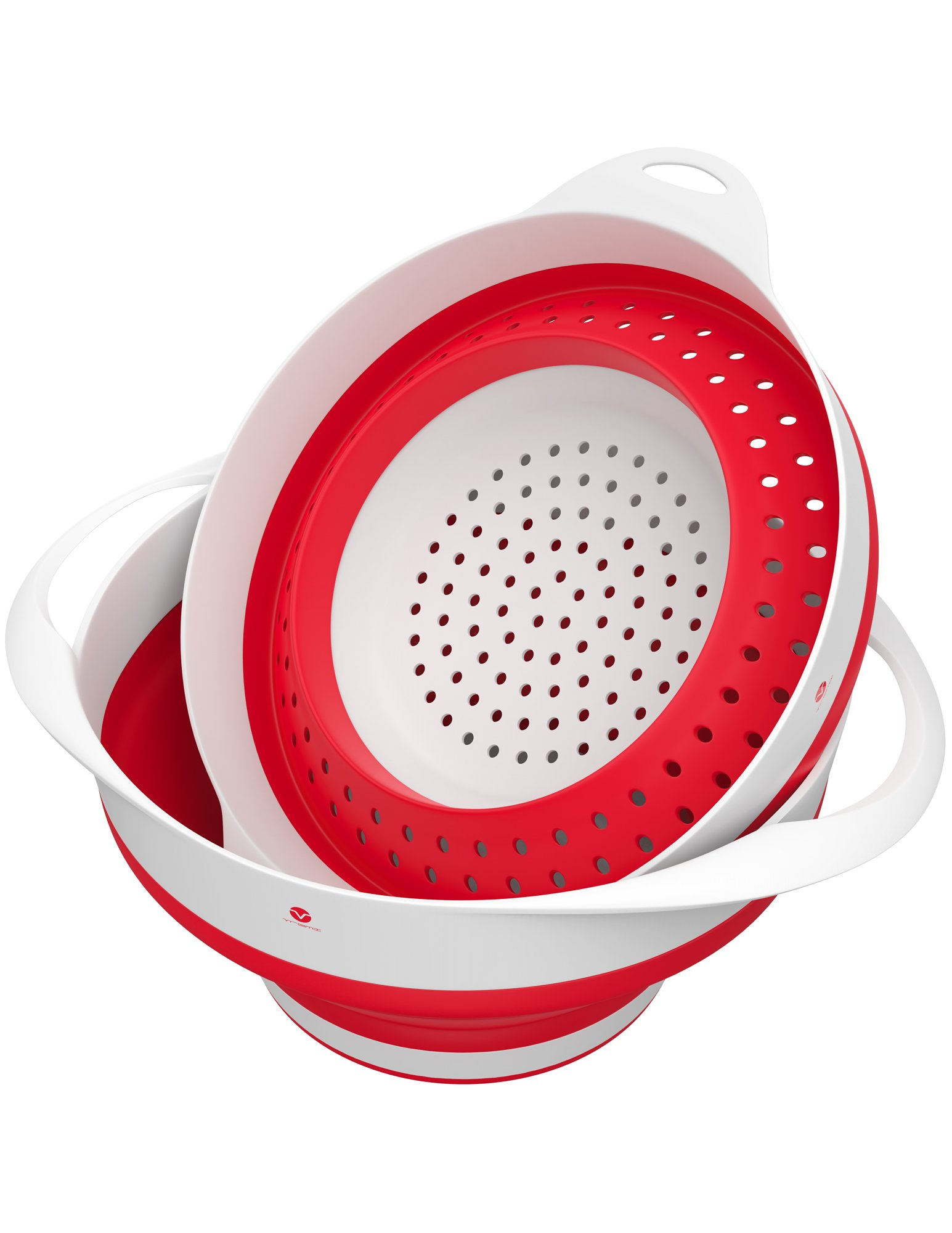 Vremi Collapsible Colander and Bowl Set - BPA Free Silicone Food Strainer - Red