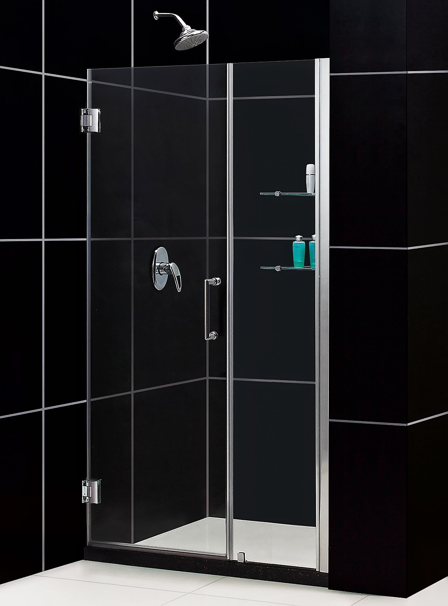 DreamLine Unidoor 47-48 in. Width, Frameless Hinged Shower Door, 3/8'' Glass, Chrome Finish by DreamLine