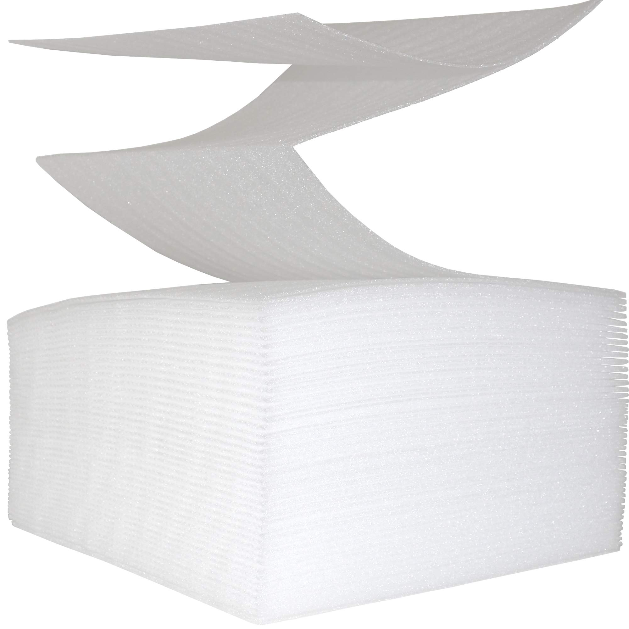 100 Count - Perforated Cushion Foam Wrap Sheets by DaBo Goods - 12'' x 12'' - Packing, Moving and Storage Supplies - Protection for Dishes, Plates, China, Glasses and Furniture Edges (White) by DaBo Goods