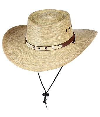 1f94e1679b6 Mexican Gambler Palm Leaf Straw Sun Hat w Chin Strap